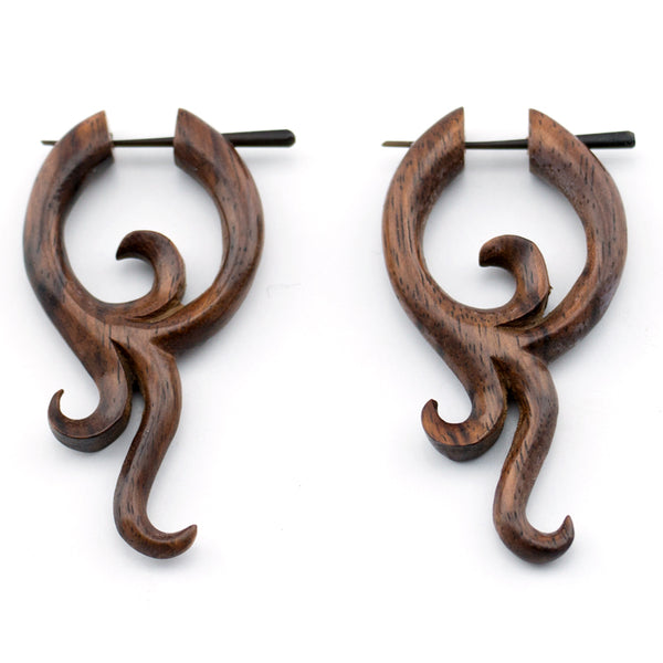 Mayan Floral Wood Post Earrings