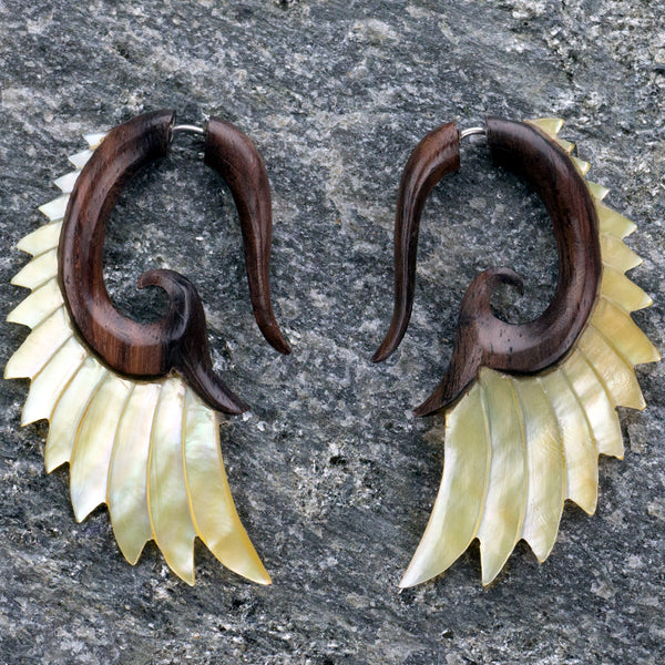 Wood & Mop Angel Wing Spirals Fake Gauges