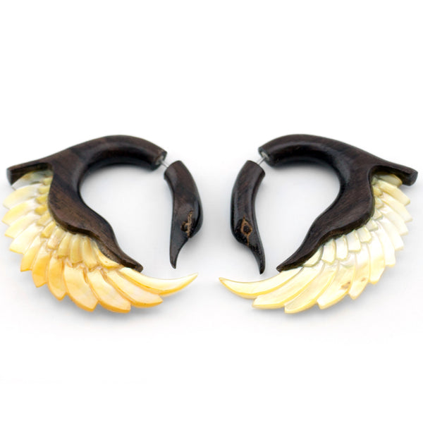 Wood & Mop Swan Sankofa Wings Fake Gauges Earrings