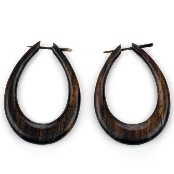 Large Oval Hoops Sono Wood Post Earrings