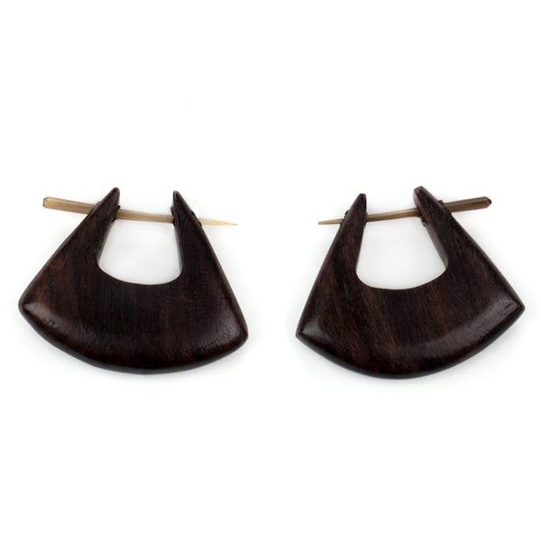 Sono Wooden Blade Hoop Post Earrings
