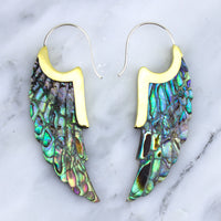 Abalone Shell Angel Wing Hanger Earrings