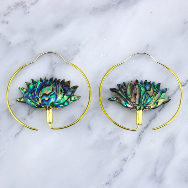 Abalone Lotus Brass Hoop Hangers / Earrings