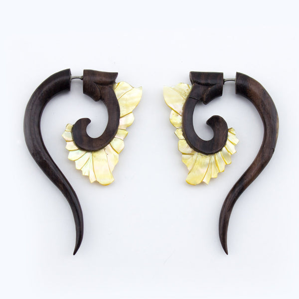 Wooden & Mother Of Pearl Tail Swirl Hangers / Fake Gauges Earrings