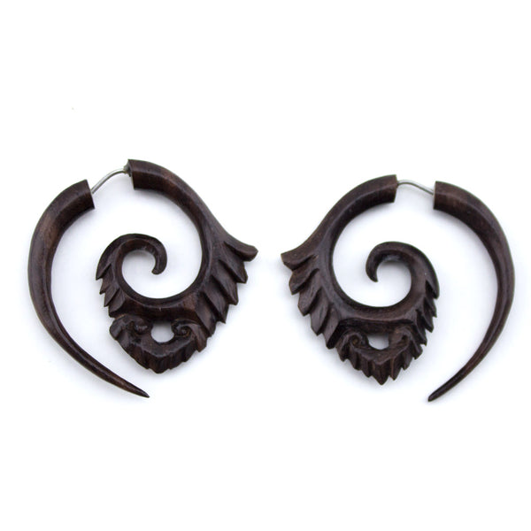 Wooden Scale Spiral Fake Gauges Earrings