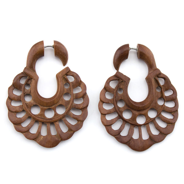 Wooden Apogee Hangers / Fake Gauges Earrings