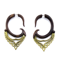 Sono Wooden Fastigium Spiral Hangers / Fake Gauges Earrings