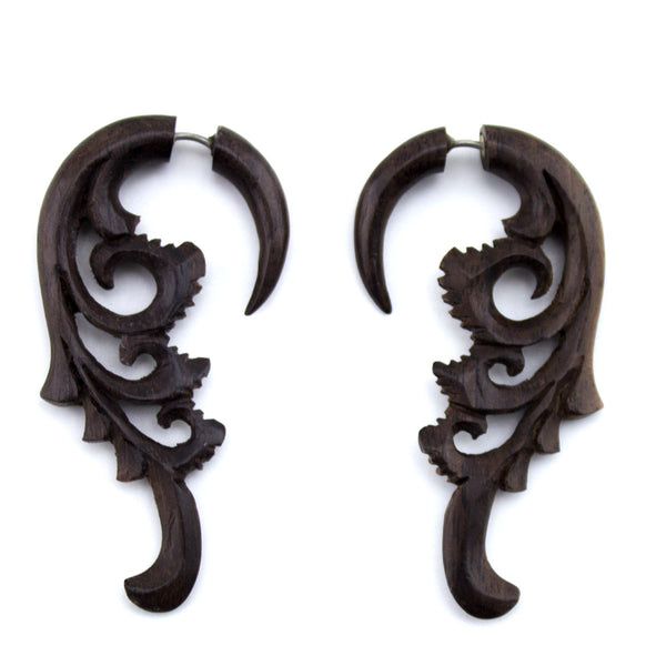 Wooden Fret Hangers / Fake Gauges Earrings