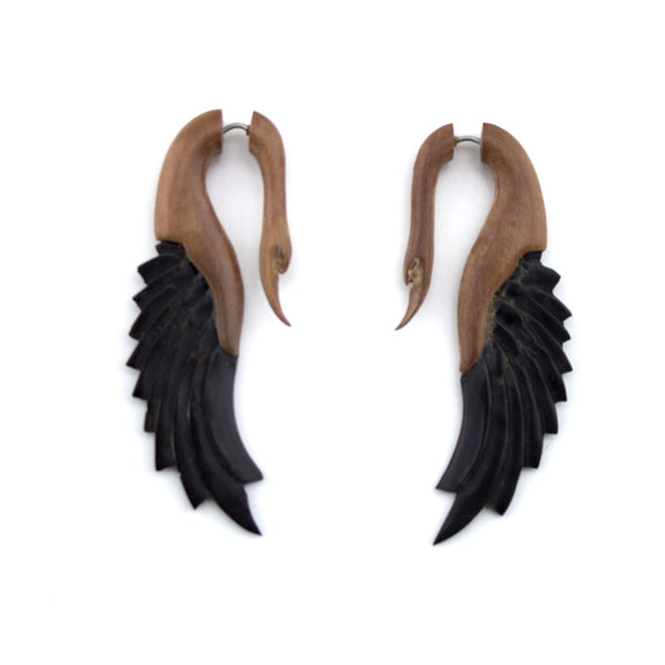 Saba Wood & Arang Wood Skinny Swan Hangers / Fake Gauges Earrings