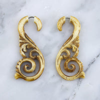 Filigree Bone Stained Hangers Fake Gauges Earrings