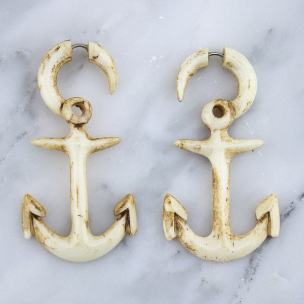 Anchor Stained Bone Hangers / Fake Gauges Earrings