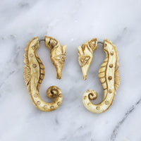 Seahorse Stained Bone Hangers / Fake Gauges Earrings