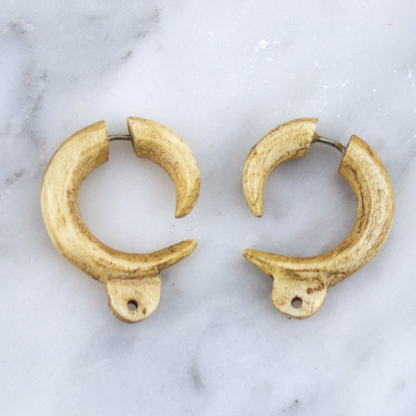 Custom Bone Stained Hooks Fake Gauges / Earrings
