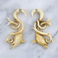 Floating Dolphin Stained Bone Hangers / Fake Gauges Earrings