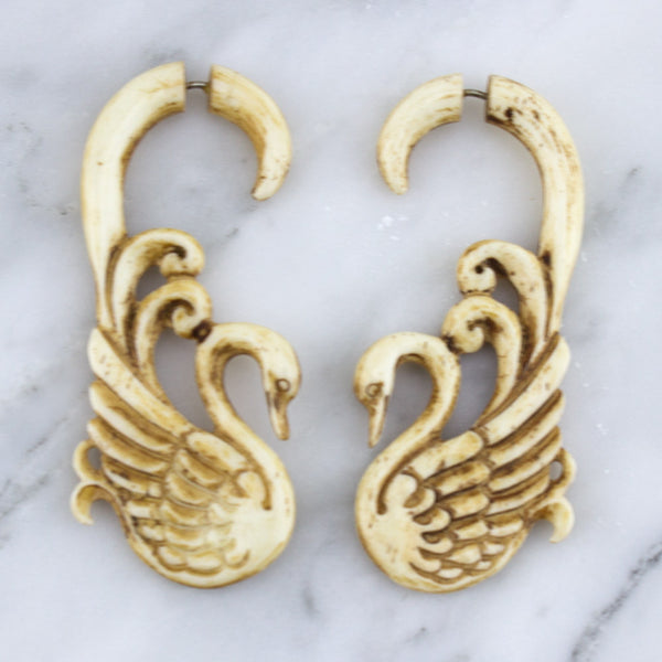 Swan Stained Bone Hangers / Fake Gauges Earrings