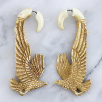 Soaring Eagle Stained Bone Hangers / Fake Gauges Earrings