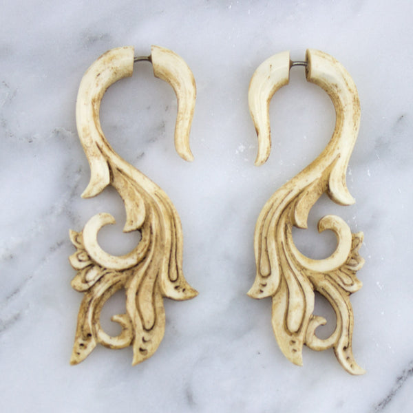 Tail Vine Stained Bone Hangers / Fake Gauges Earrings