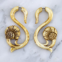 Swily Sea Stained Bone Spirals / Fake Gauges Earrings