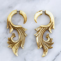 Spiral Vain Stained Bone Hangers / Fake Gauges Earrings