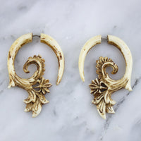 Ornate Stained Bone Hangers / Fake Gauges Earrings