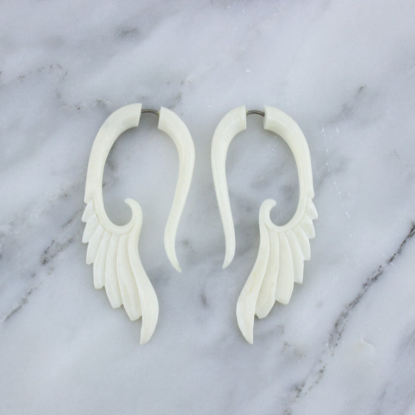 Skinny Bone Angel Wing / Fake Gauges Earrings