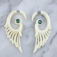 Feather Wing Abalone Shell Inlay Fake Gauges Earrings