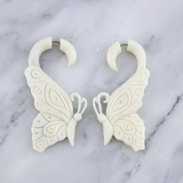 Hanging Butterfly Bone Fake Gauges Earrings