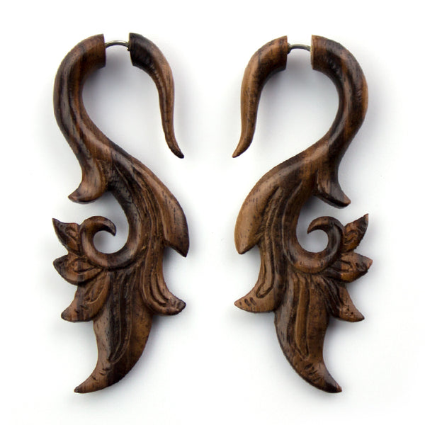 Blooming Vine Sono Wood Fake Gauges Earrings