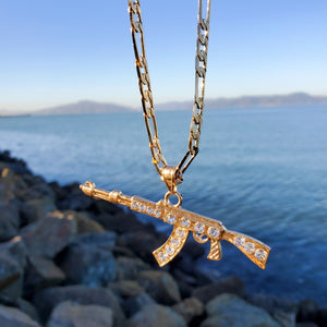 18k plated gold and silver chain and pendant ak gun
