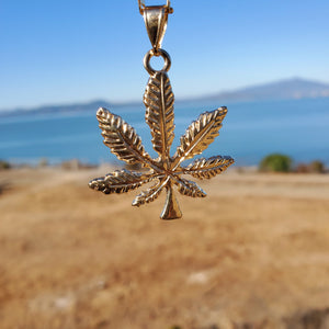 18k plated gold chain and pendant mariguana