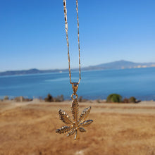 Load image into Gallery viewer, 18k plated gold chain and pendant mariguana