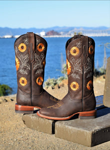 031 chocolate Girasol square toe woman boots 😍 RW sunflower
