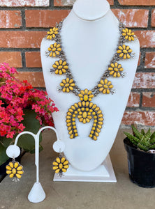Yellow Necklace and Earrings Set 🌼