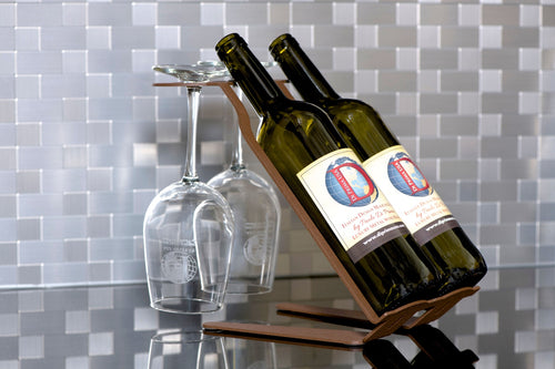 Venetian Free Standing Table Wine Rack - 2 BTLs, 2 Glasses - Corten