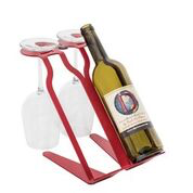 Venetian Free Standing Table Wine Rack - 2 BTLs, 2 Glasses - RED Special Edition