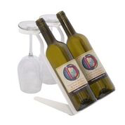 Venetian Free Standing Table Wine Rack - 2 BTLs, 2 Glasses - WHITE Special Edition