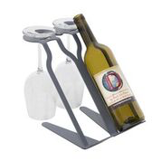 Venetian Free Standing Table Wine Rack - 2 BTLs, 2 Glasses - GREY Special Edition