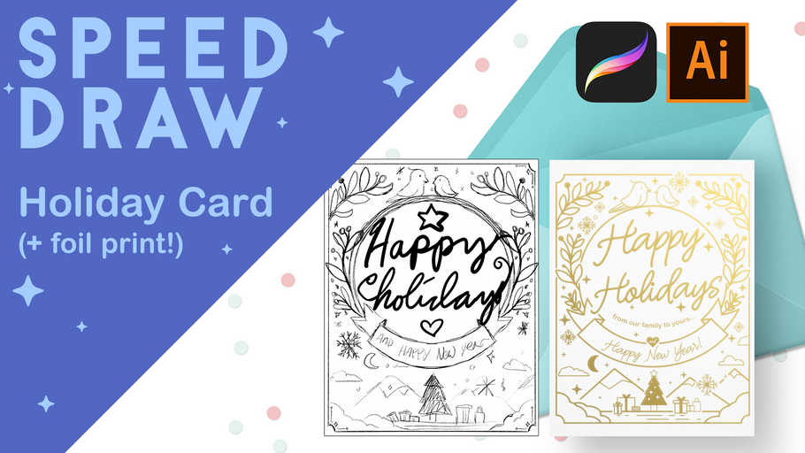 [Speed Draw] My holiday cards for 2018!