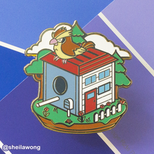 Load image into Gallery viewer, Birbhouses: Tiny Pigeon Enamel Pin