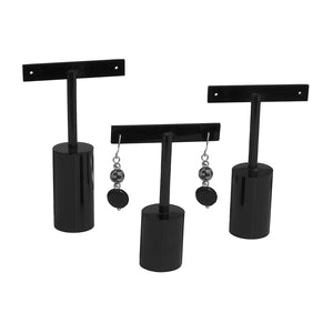 Black Round T Earring Set