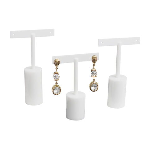 White Round T Earring Set