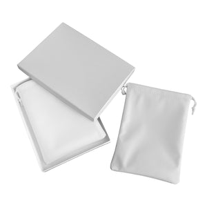 White Drawstring Pouch and Box Set