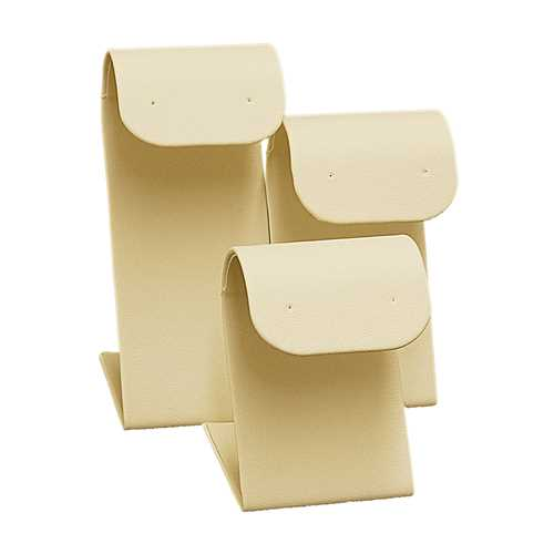 Beige Leatherette 3 Pc Set of Earring Display Stands