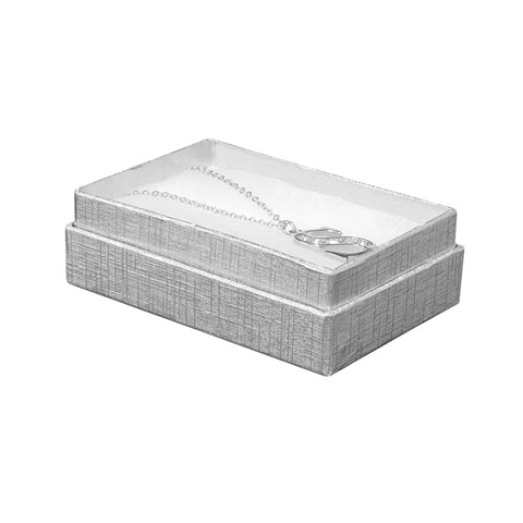 "Silver Linen Cotton Fill Boxes - 3"" x 2"" x 1"""