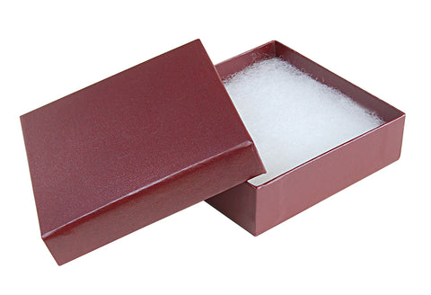 "Burgundy Cotton Fill Boxes - 3 1/2"" x 3 1/2"" x 1"""