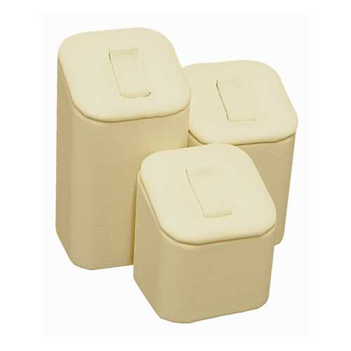 Beige Leatherette 3 Piece Ring Pedestal Set with Clips