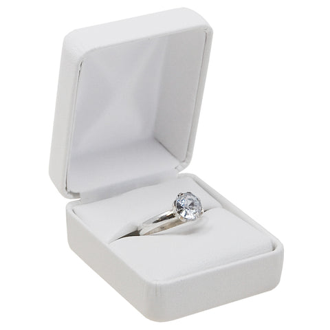 White Leatherette Ring Box