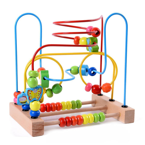 Image of Baby Bead Maze Colourful Wooden Education Developing Interactive Montessori Toy - fobglobal