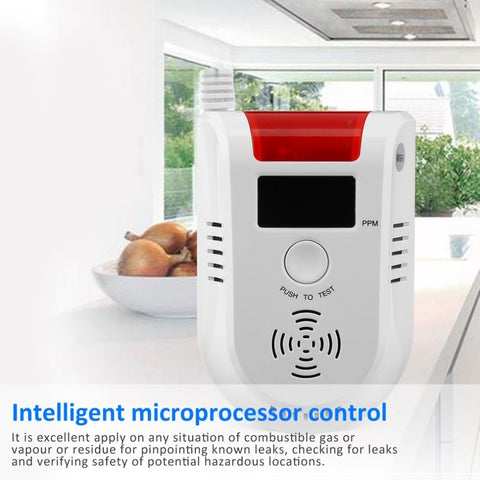 WIFI APP Voice Prompt Combustible Gas Leakage Detector Alarm System Display Screen Wireless Security Gas Sensor Alarm