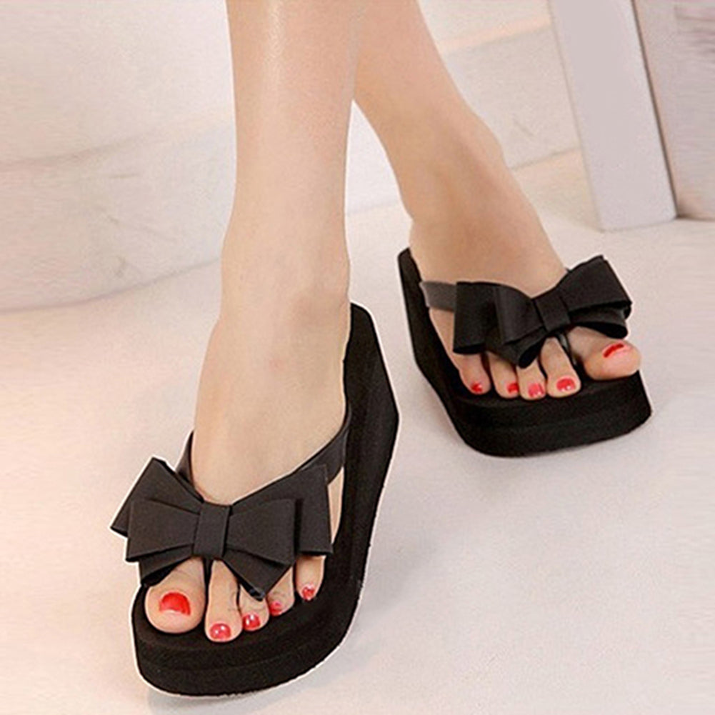 Women Fashion Platform Mid Heel Flip Flops Beach Sandals Bowknot Slippers